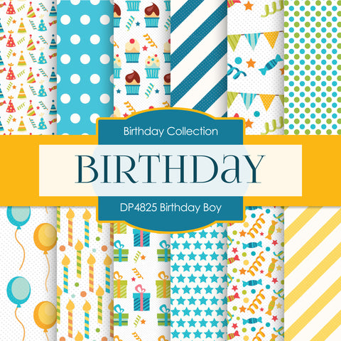 Birthday Boy Digital Paper DP4825 - Digital Paper Shop - 1