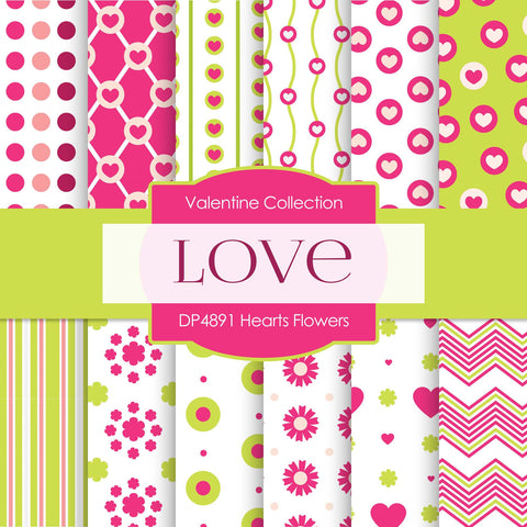 Hearts Flowers Digital Paper DP4891 - Digital Paper Shop - 1