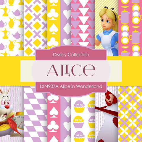 Alice In Wonderland Digital Paper DP4907B - Digital Paper Shop - 1