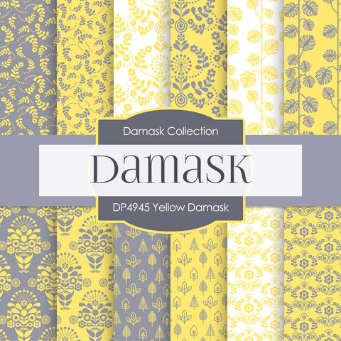 Yellow Damask Digital Paper DP4945 - Digital Paper Shop - 1
