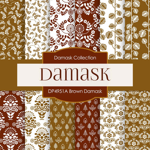 Brown Damask Digital Paper DP4951A - Digital Paper Shop - 1