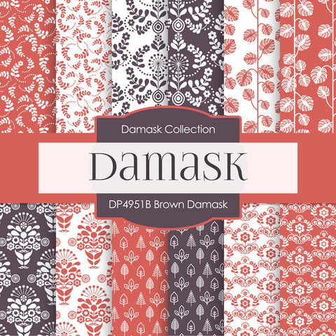 Brown Damask Digital Paper DP4951B - Digital Paper Shop - 1