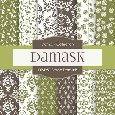 Brown Damask Digital Paper DP4951 - Digital Paper Shop - 1