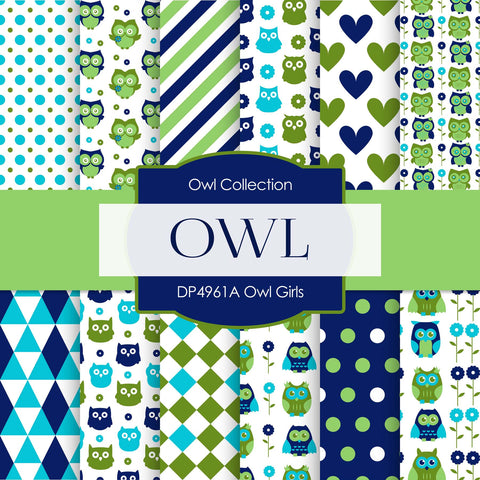 Owl Girls Digital Paper DP4961A - Digital Paper Shop - 1