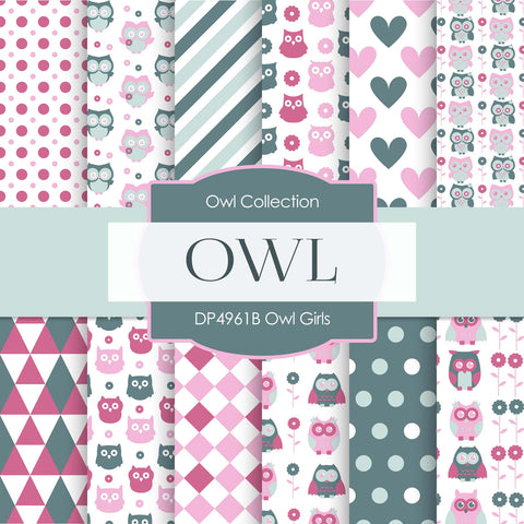 Owl Girls Digital Paper DP4961B - Digital Paper Shop - 1