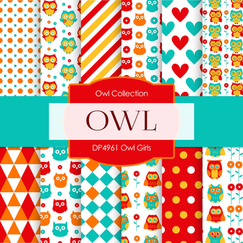 Owl Girls Digital Paper DP4961 - Digital Paper Shop - 1