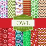 Christmas Owl Digital Paper DP5000 - Digital Paper Shop - 1