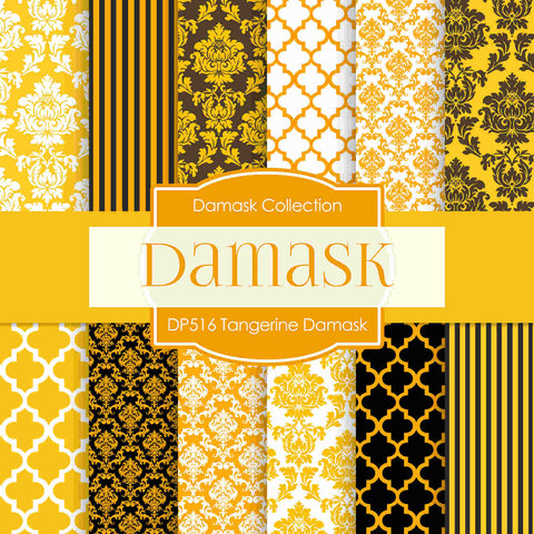 Tangerine Damask Digital Paper DP516 - Digital Paper Shop - 1