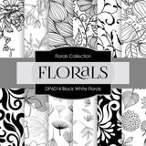 Black White Florals Digital Paper DP6014 - Digital Paper Shop - 1
