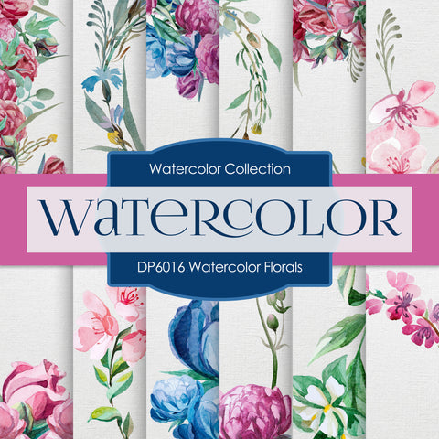Watercolor Florals Digital Paper DP6016 - Digital Paper Shop - 1
