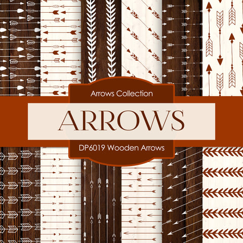 Wooden Arrows Digital Paper DP6019 - Digital Paper Shop - 1