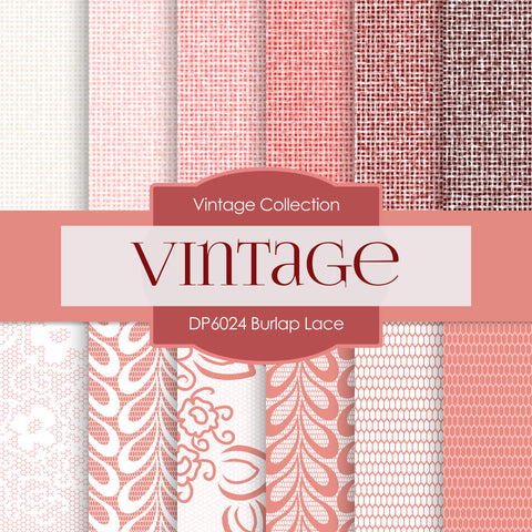 Burlap Lace Digital Paper DP6024 - Digital Paper Shop - 1