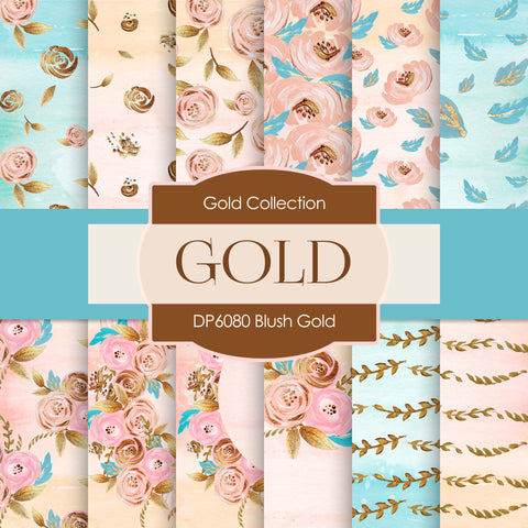 Blush Gold Digital Paper DP6080 - Digital Paper Shop - 1