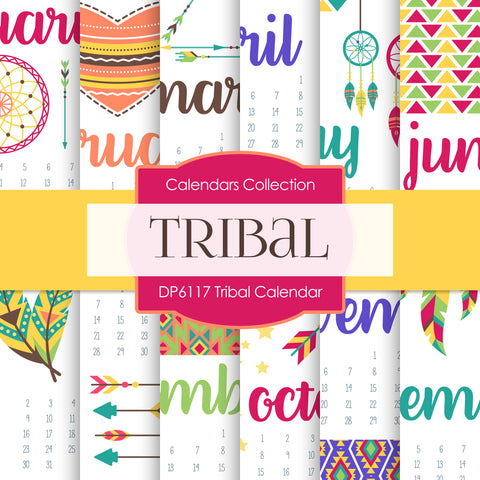 Tribal Calendar Digital Paper DP6117
