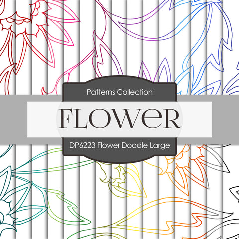 Flower Doodle Large Digital Paper DP6223A
