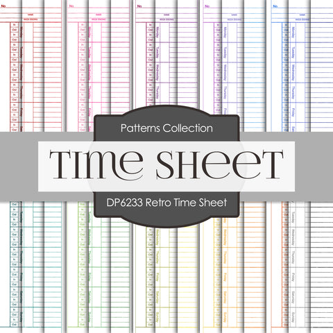 Retro Time Sheet Digital Paper DP6233B