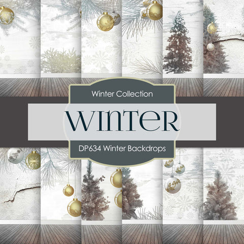 Winter Backdrops Digital Paper DP634 - Digital Paper Shop - 1