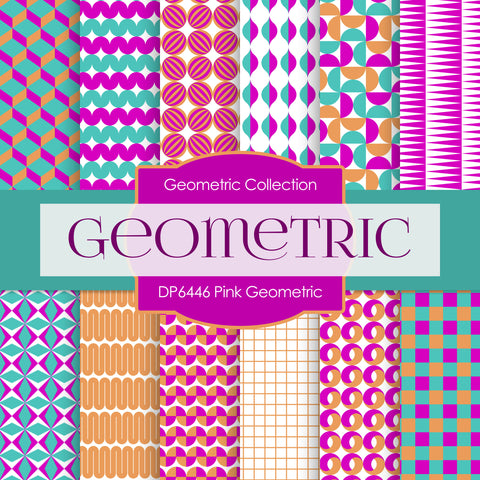 Pink Geometric Digital Paper DP6446