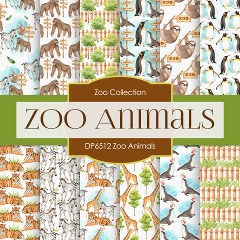 Zoo Animals Digital Paper DP6512