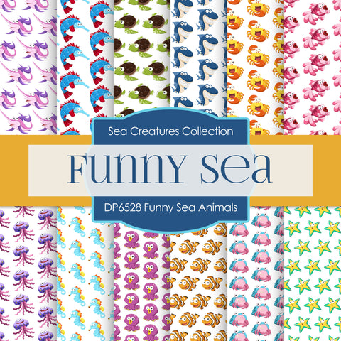 Funny Sea Animals Digital Paper DP6528