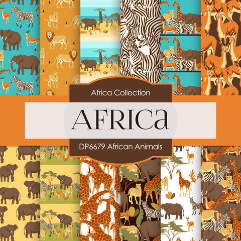 African Animals Digital Paper DP6679