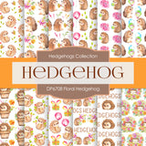 Floral Hedgehog Digital Paper DP6708