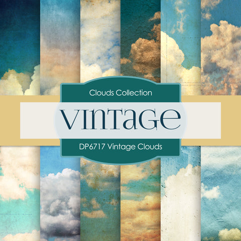 Vintage Clouds Digital Paper DP6717