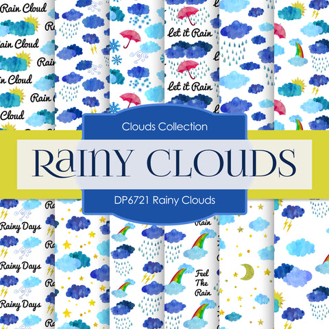 Rainy Clouds Digital Paper DP6721