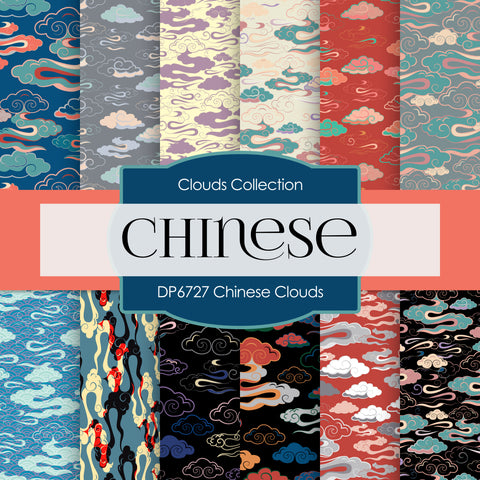 Chinese Clouds Digital Paper DP6727