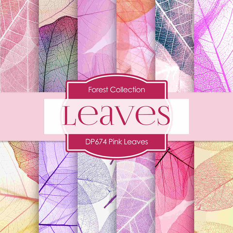 Pink Leaves Digital Paper DP674 - Digital Paper Shop - 1