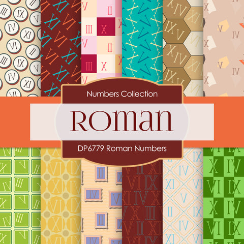 Roman Numbers Digital Paper DP6779