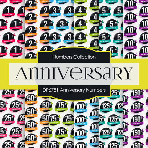 Anniversary Numbers Digital Paper DP6781