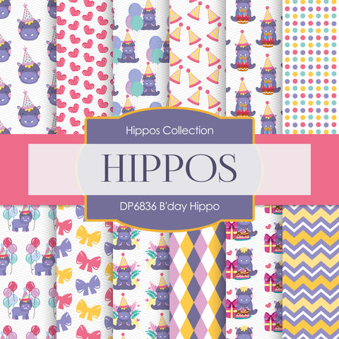 B-day Hippo Digital Paper DP6836