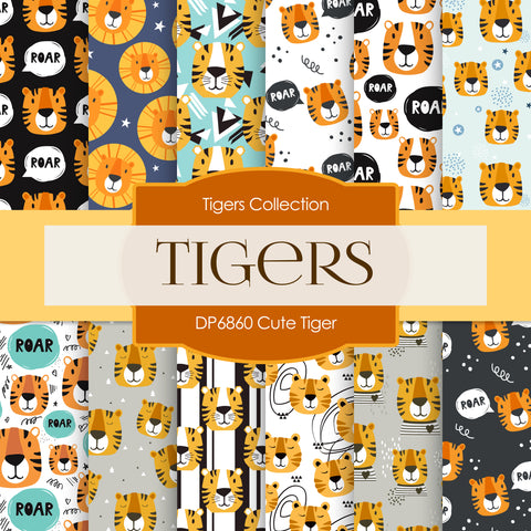 Cute Tiger Digital Paper DP6860