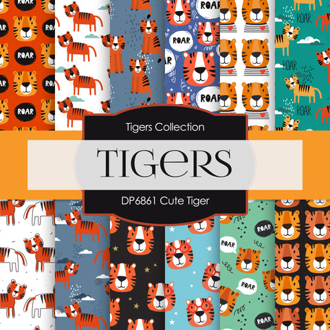 Cute Tiger Digital Paper DP6861