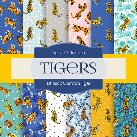 Cartoon Tiger Digital Paper DP6862