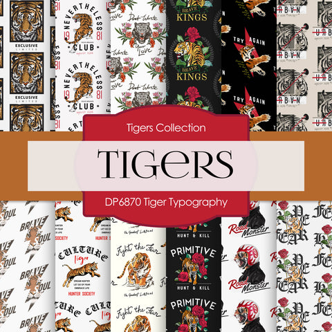 Tiger Typography Digital Paper DP6870