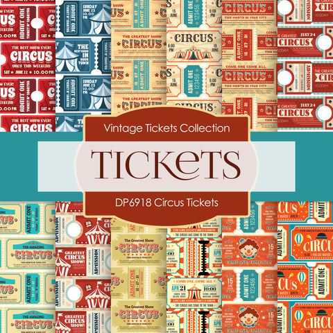 Circus Ticket Digital Paper DP6918