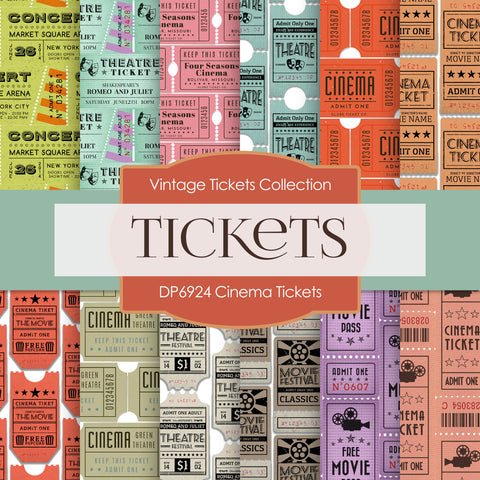 Cinema Ticket Digital Paper DP6924