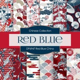 Red Blue China Digital Paper DP6947