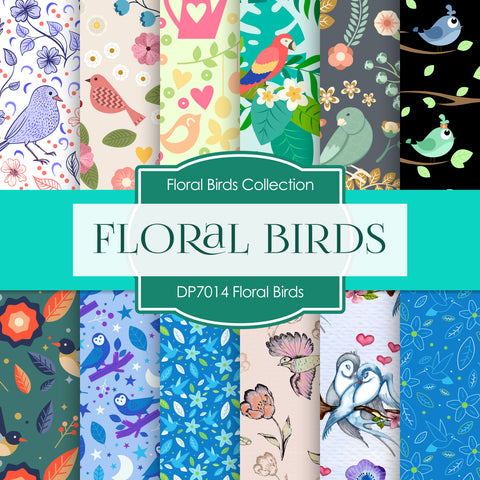 Floral Birds Digital Paper DP7014