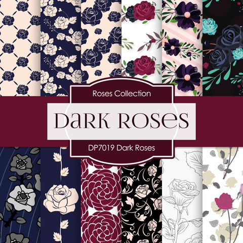 Dark Roses Digital Paper DP7019