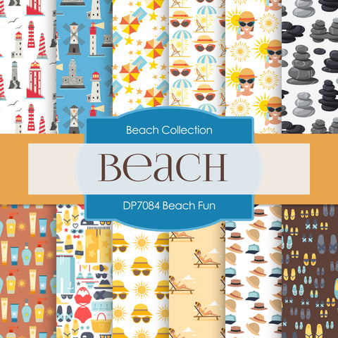 Beach Fun Digital Paper DP7084