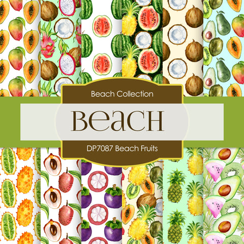 Beach Fruits Digital Paper DP7087