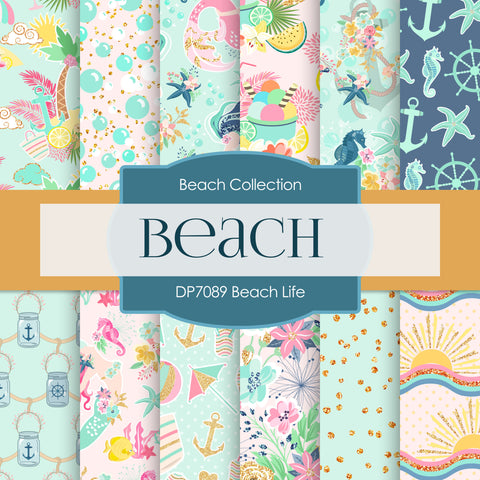 Beach Life Digital Paper DP7089