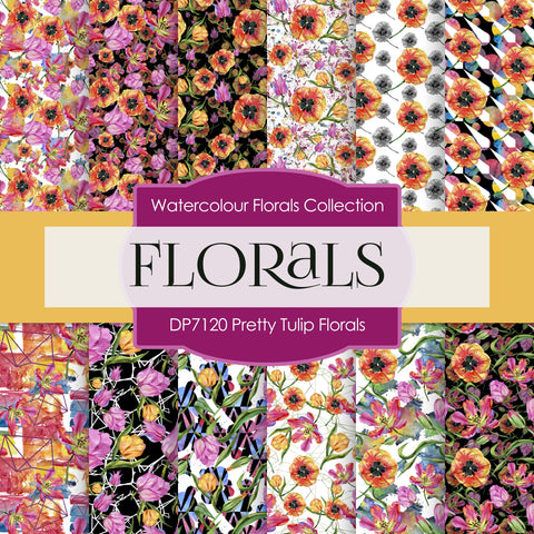 Pretty Tulip Florals Digital Paper DP7120