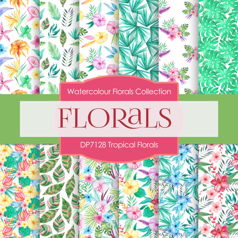 Tropical Florals Digital Paper DP7128