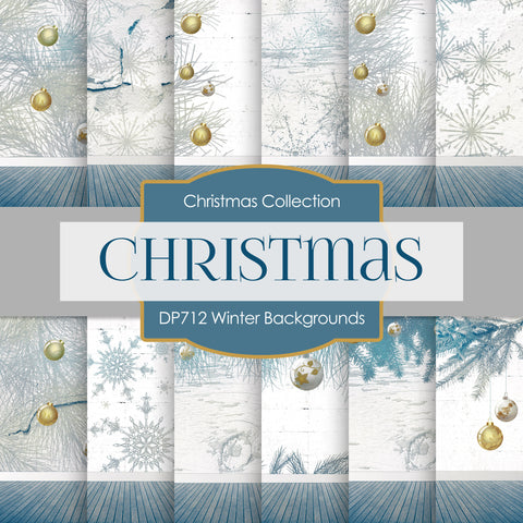 Winter Backgrounds Digital Paper DP712 - Digital Paper Shop - 1