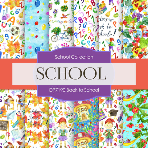 Back To School Digital Paper DP7190