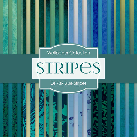 Blue Stripes Digital Paper DP739 - Digital Paper Shop - 1